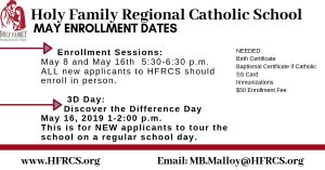 May Enrollment Holy Family Regional Catholic School